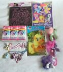 My Little Pony Lot 3 Ponies 3 Necklaces Tattoos Tissues Play Pack Scratch Art
