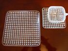 Very Rare Fenton French White Opulescent Hobnail SQUARE 3 Piece Setting