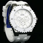 New GUESS Mens Watch Overdrive Sport White Rubber MF 100M U11570G3 Reloj NwT Uhr