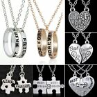 2pcs Best Friend Forever 18K White Gold Filled Love Heart Ring Chain Necklace