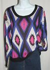 Flying Tomatoe Anthropologie SZ LG Long Sleeve Aztec Tribal Black Pink Sweater