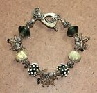 Sterling Silver Art Glass and Cha Cha Bead Toggle Bracelet 6 01WE