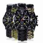 Outdoor Survival Watch Bracelet Compass Flint Paracord Thermometer Whistle US
