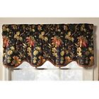 Waverly Felicite Single Scalloped Window Valance 50inX15in Floral Noir NEW