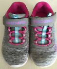 Skechers Gray Rainbow Girl Sneakers Pink Laces Velcro Strap Size 8 Excellent