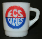 Vtg Fire King ECS Eagles Texas 1960s Ribbed Bottom Advertising Coffee Cup Mug