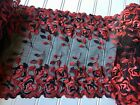 Red  Black Embroidered Border Lace Trim with black tulle for Sewing 10  Wide