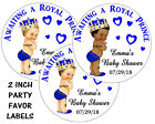 20 BABY SHOWER ROYAL PRINCE STICKERS LABELS for FAVORS popcorn goody bags
