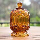 Stars Amber Sugar Bowl with Lid