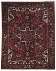 Wool on Cotton Soft 9x11 Persian Heriz Rug Hand-Knotted Rust Red Rug