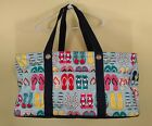 Thirty One Deluxe Utility Tote Fun Flops Retired Print Travel Beach Grocery Bag
