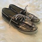 Sperry Top Sider Womens Blue Plaid Boat Shoes 2 Eye Lace Size 75 Slip On