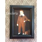 Primitive Folk Art Print Vintage Make Do Frame Boy 3 Pic Brown Suit 4x6