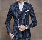 Men's Double-breasted Stripe Blazer Slim Fit Coat Jacket Formal Casual Jacket sZ