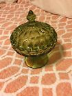 INDIANA GLASS Thumbprint Olive Green Covered Pedestal Candy Dish