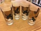 Mid Century Signed LES KOUBA Game Birds Barware Highball Rock Glasses Excellent