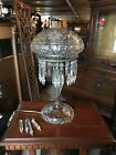 Beautiful Antique Cut Glass Mushroom Table Lamp Deep Cut Acorn Pulls. Crystal
