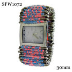 Safety Pin Beaded Fashion Watch 30mm Pink/Blue