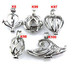 21622 5X lot Wholesale Silver Locket Flower Anchor Cloud Pearl Cage Pendant Girl