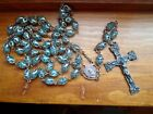 Beautiful Large Sterling Silver Rosary Cross With 59 Caged Glass Blue Bead Chain