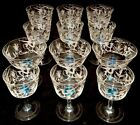 Set 12 Salviati Murano Glass Hand Etched Champagne Coupe Wine Goblet Vintage