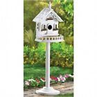 WHITE WOODEN FRENCH COUNTRY STYLE BIRDHOUSE WITH BIRDFEEDER BALCONY AND STAND