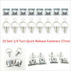 10Sets Motorcycle 17mm Clip-on 1/4 Turn Race Fairing Quick Release Fasteners Kit