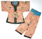 BEAUTIFUL ANTIQUE CHINESE EMBROIDERED CHILD'S ROBE AND PANTS - QING DYNASTY