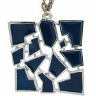 """1970s Silver Tone Jig-Saw Dark Blue Abstract Enamel Pendant Necklace 18"""""""