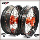 3.5/4.5 SUPERMOTO CUSH DRIVE WHEEL SET FOR KTM 690 ENDURO R 2008-2018 ORANGE NIP