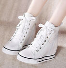 Womens Athletic Hidden Wedge Heels Lace Up Leisure Sneaker High Top Boot Shoes