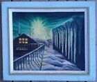 R NEAL MID CENTURY OLD ORIGINAL OIL PAINTING HOUSE ICY WINTER NIGHT SCENE SIGNED