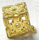 COOL VINTAGE 1930'S LACY FILIGREE CRICKET CAGE BUTTON ~ GEOMETRIC BLOCK SHAPE