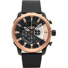 NWT Diesel Stronghold Chronograph Black Rose Gold Leather Band Mens Watch DZ4390