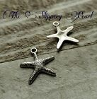 10 Starfish Charms Antique Silver Tone Nautical Pendants Ocean Set Sea Life 20mm