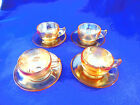 MARIGOLD IRIDESCENT LUSTER SET OF 4 CUPS AND SAUCERS DEPRESSION