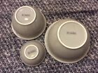 Set of 3 Anchor Hocking  Nesting Mixing Bowls Pottery Grey Blue white rim