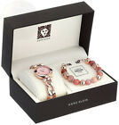 Anne Klein Womens AK-2836SUNS Diamond-Accented Rose Gold-Tone Watch and Sunstone
