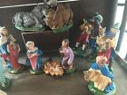 VINTAGE PLASTER NATIVITY 13 PIECE SET HAND PAINTED  ITALY includes stable