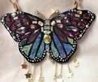 LARGE Betsey Johnson YOU GIVE ME BUTTERFLIES Crystal Statement Necklace Stars