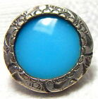 BEAUTIFUL ANTIQUE SILVER BUTTON w/RICH ROBIN'S EGG BLUE CHAMPLEVE ENAMEL