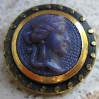 Antique Brass, PURPLE Center BEAUTIFUL LADY Button- Gorgeous!