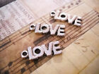 6 Love Charms Antiqued Silver Word Pendants Valentines Day Mothers Days