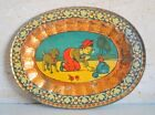 Old Vintage India Litho Print Beautiful Wall Decorative Tin Serving Tray Plate