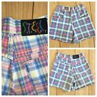 Steel Jean Shorts Women Size 7 Pink Blue Plaid Vintage High Waist Mom USA