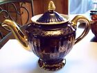 2Hall Teapot Gold Label Los Angeles Cobalt Blue Medallion 6 Cup, Flawless!