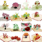 3D Pop Up Paper Cut Greeting Card Postcard Flower Birthday Invitation Card Gift