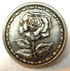 ANTIQUE 19th CENTURY SILVER/WHITE METAL PICTURE BUTTON w/WONDERFUL OPEN ROSE