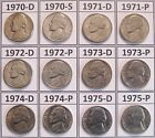 Complete Set  20 Brilliant Uncirculated 1970's Business Strike Jefferson Nickels