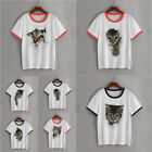 Women White Tops 3D Print Cat Short Sleeve  Leisure  T - shirt  Bottoming Shir